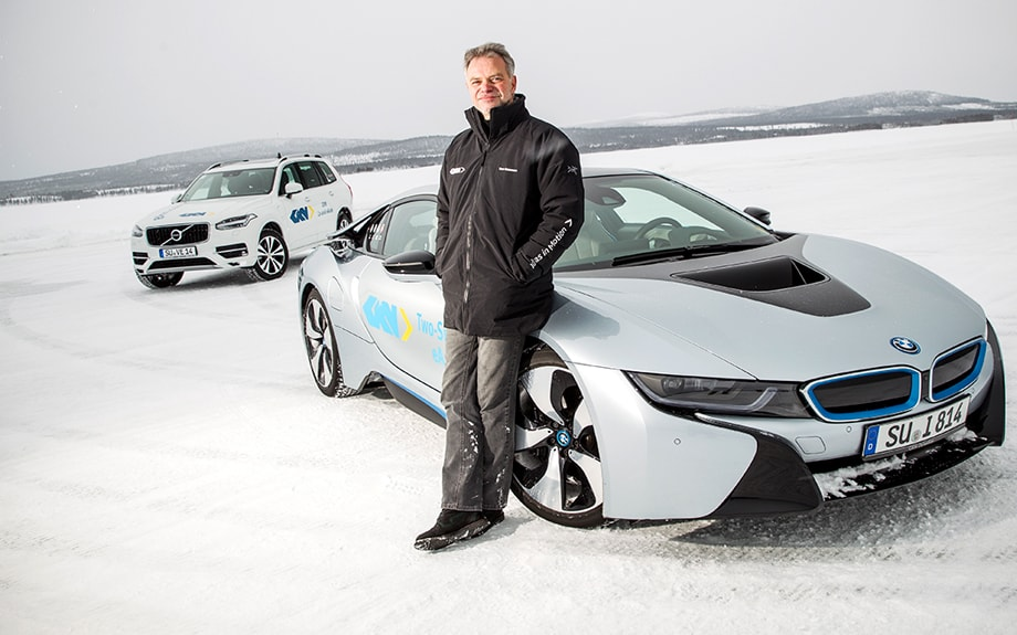 Theo Glassmann and a BMW i8 at Wintertest