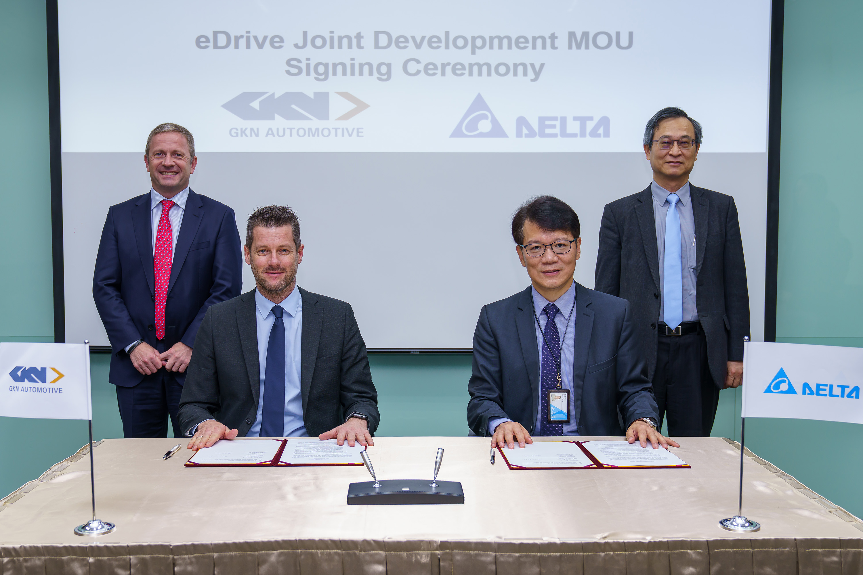 L-R: Liam Butterworth, CEO, GKN Automotive; Hannes Prenn, COO, ePowertrain, GKN Automotive; Simon Chang, COO, Delta Electronics; James Tang, VP and GM of Electric Vehicle Solutions Business Group of Delta Electronics